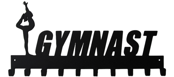 Female Gymnast Black 10 Hook Medal Display Hanger
