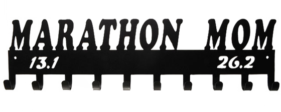 Marathon Mom 13.1 & 26.2 Black 10 Hook Medal Display Hanger