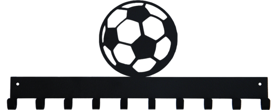 Soccer Ball Black 10 Hook Medal Display Hanger for Sports