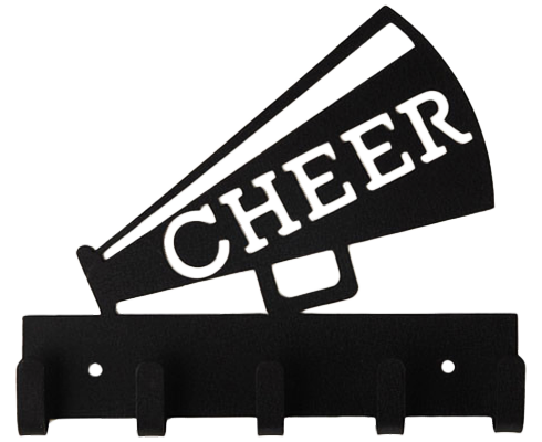 Cheer Megaphone Black 5 Hook Medal Display Hanger