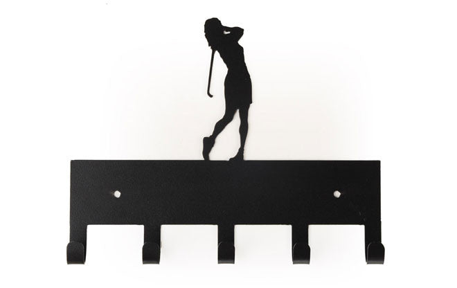 Female Golfer Black 5 Hook Medal Display Hanger
