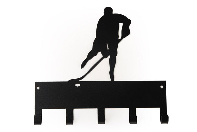 Hockey Player Sports Black 5 Hook Medal Display Hanger