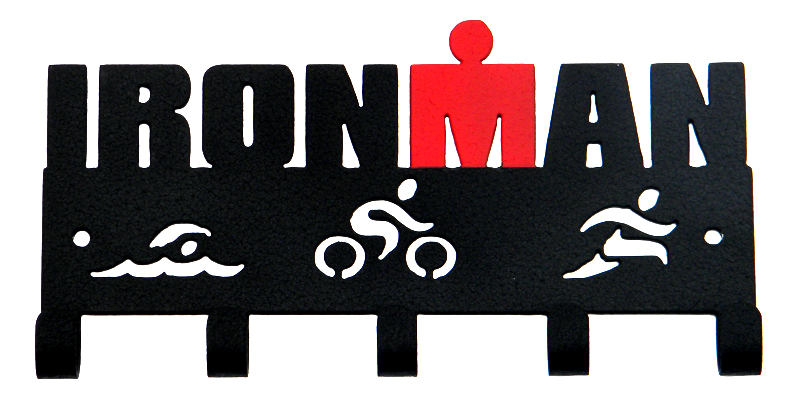 Ironman Triathlon Swim Bike Run Black & Red 5 Hook Medal Hanger
