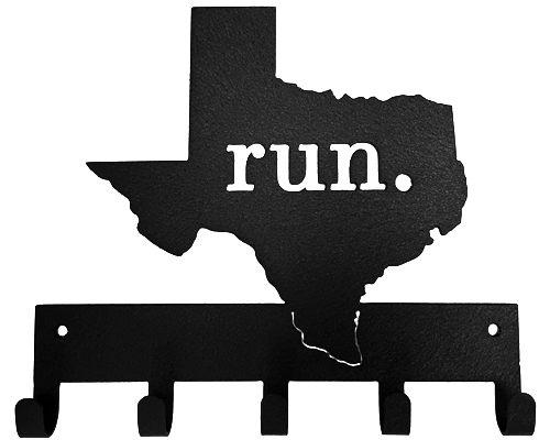 Run State of Texas Black 5 Hook Medal Display Hanger