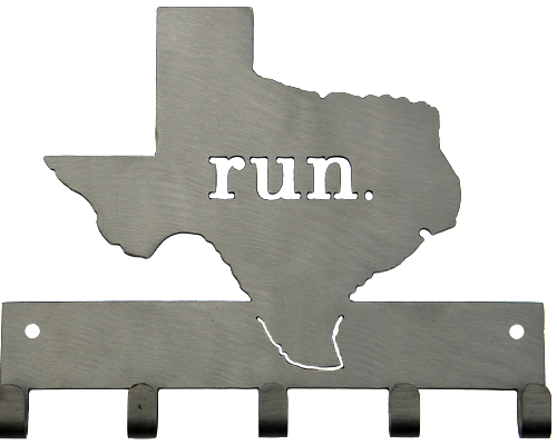 Run State of Texas Matte Silver 5 Hook Medal Display Hanger