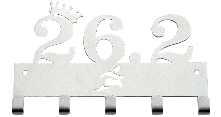 Disney 26.2 Marathon Tilted Crown 5 Hook Silver Medal Display Hanger