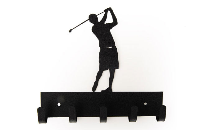 Male Golfer Black 5 Hook Medal Display Hanger