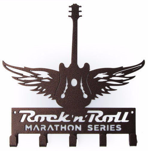 Rock n Roll Marathon Series Winged Guitar Bronze 5 Hook Medal Display Hanger
