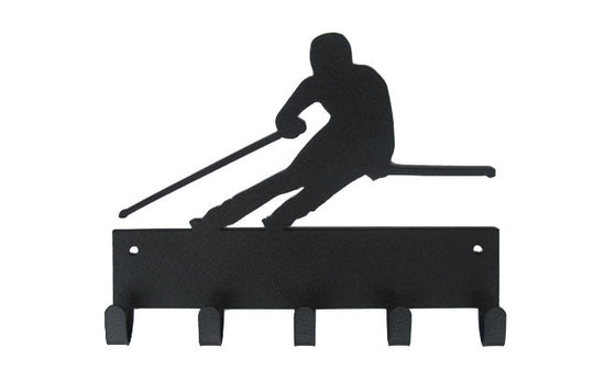 Skiing Skier Black 5 Hook Medal Display Hanger