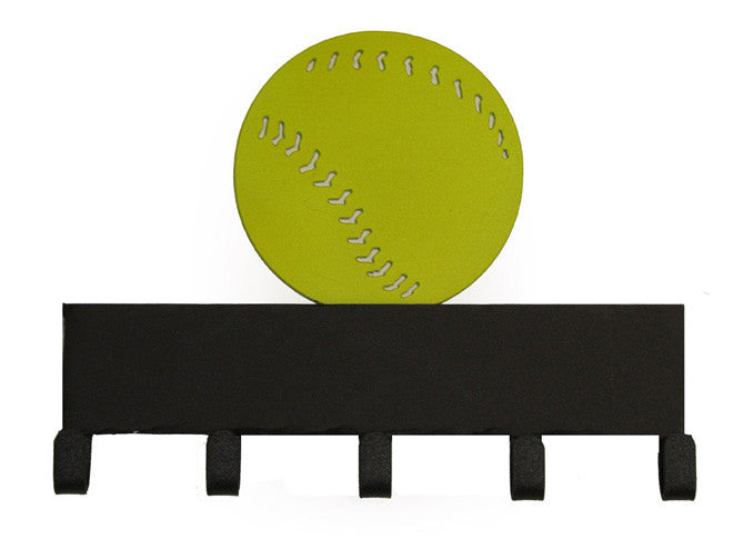 Softball Yellow & Black 5 Hook Medal Display Hanger