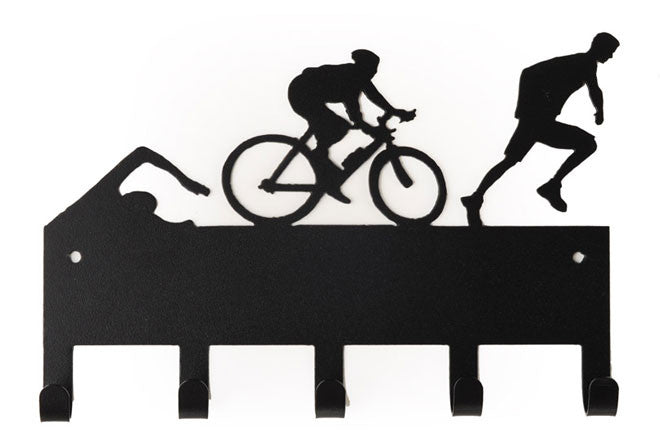 Male Triathlon Figures Swim Bike Run Black 5 Hook Medal Display Hanger
