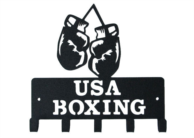 USA Boxing Gloves Black 5 Hook Medal Display Hanger