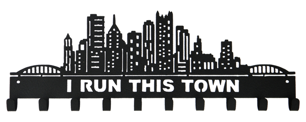 I Run This Town Skyline & Buildings Black 10 Hook Medal Hanger - New Design