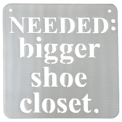 Bigger Shoe Closet Silver Metal Mantra