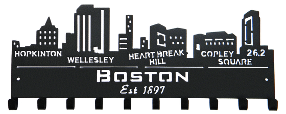Boston Marathon Skyline 10 Hook Black Medal Display Hanger
