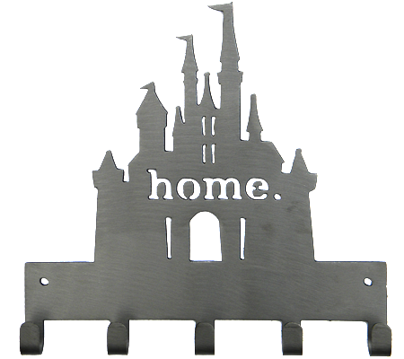 Disney Princess Castle Home 5 Hook Silver Medal Hanger