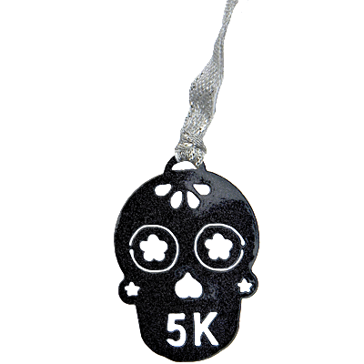 Sugar Skull 5K Runner Black Sparkle Dangler Ornament
