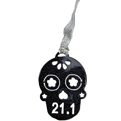 Sugar Skull 21.1 Runner Black Sparkle Dangler Ornament