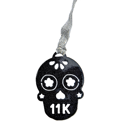 Sugar Skull 11K Runner Black Sparkle Dangler Ornament