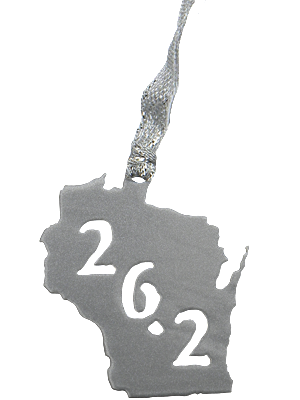 26.2 Marathon Wisconsin Silver Dangler Ornament