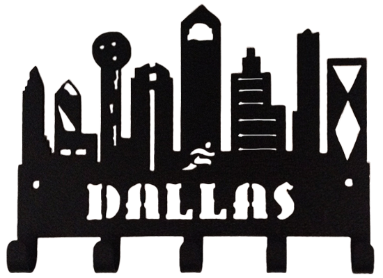 Dallas Skyline Buildings Black 5 Hook Medal Display Hanger