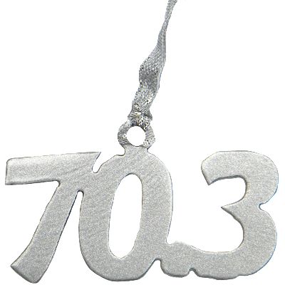 Half Ironman Triathlon 70.3 Miles Silver Dangler Ornament