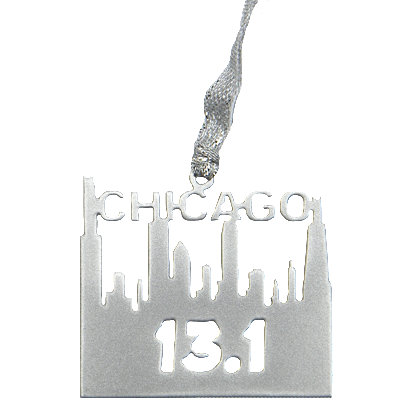 Chicago Half Marathon 13.1 Runner Skyline Silver Dangler Ornament