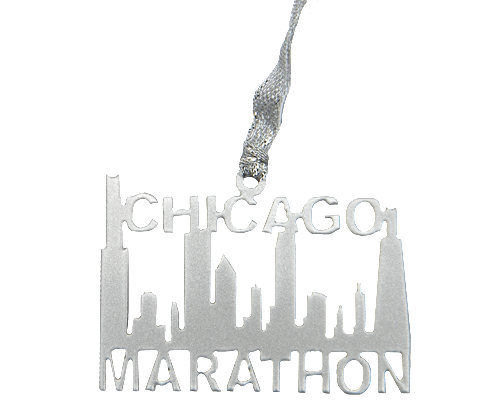 Chicago Marathon Runner Skyline Silver Dangler Ornament