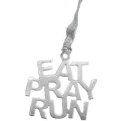 Eat Pray Run Inspirational Quote Silver Dangler Ornament