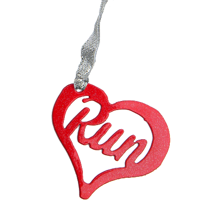 Love to Run Heart - Red Sparkle Dangler Ornament