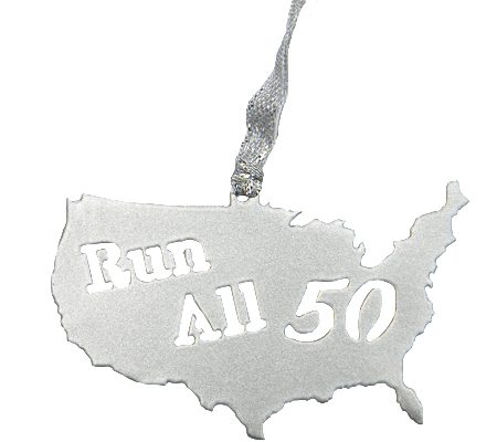 Run All 50 States Club United States Silver Dangler Ornament
