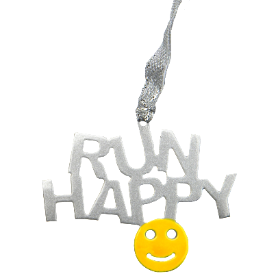 Run Happy Quote with Smiley Yellow and Silver Dangler