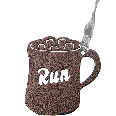 Hot Chocolate Mug Run Marathon Bronze Dangler