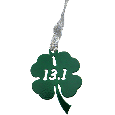 13.1 Half Marathon Shamrock Green Dangler Ornament