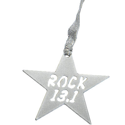 13.1 Half Marathon Rock Star Silver Dangler Ornament