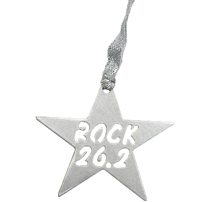 26.2 Marathon Rock Star Silver Dangler Ornament