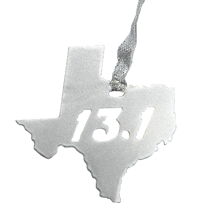 13.1 Half Marathon Texas Silver Dangler Ornament