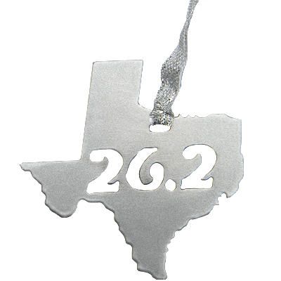 Texas 26.2 Marathon Silver Dangler Ornament