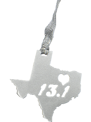 13.1 Half Marathon Texas Heart Silver Dangler Ornament