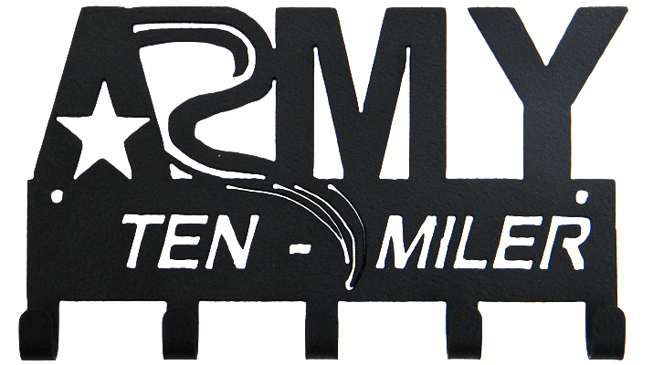 Army Marathon Ten Miler 5 Hook Black Medal Display Hanger