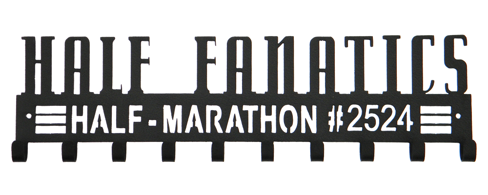 Half Fanatics Half Marathon Crazy Custom Number Black 10 Hook Medal Hanger