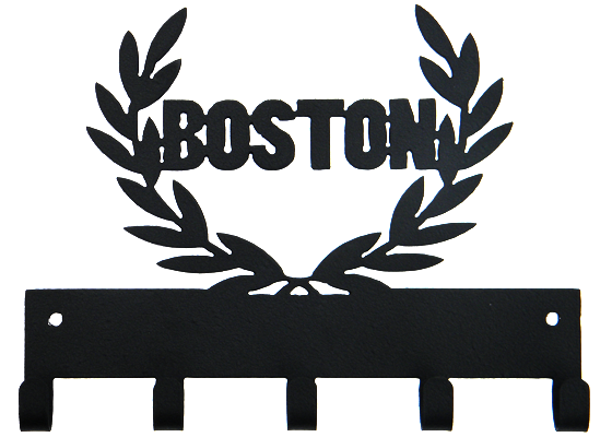 Boston Marathon 5 Hook Black Medal Display Hanger