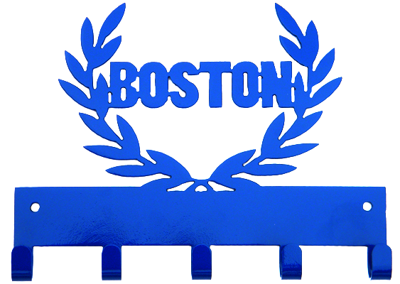 Boston Marathon 5 Hook Blue Medal Display Hanger