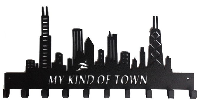 Chicago Skyline My Kind of Town 10 Hook Black Medal Hanger