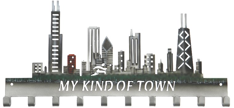 Chicago My Kind of Town Custom Painted Skyline Day 10 Hook Medal Hanger