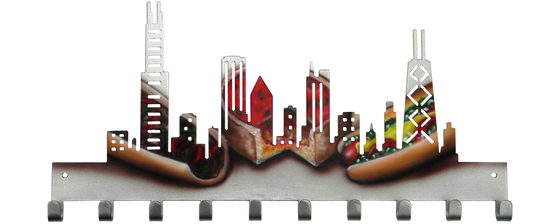 Chicago Skyline Custom Painted Italian Beef Pizza Hot Dog Medal Hanger
