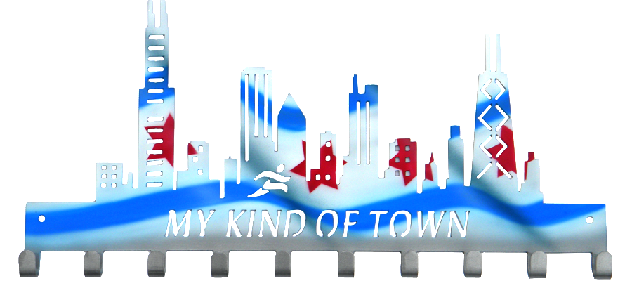 Chicago Skyline My Kind of Town Custom Painted Flag Medal Hanger