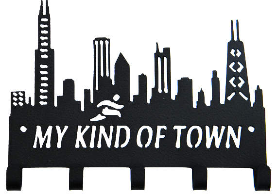Chicago Skyline My Kind of Town 5 Hook Black Medal Hanger