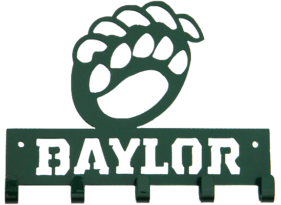 Baylor Bear Paw Green 5 Hook Medal Display Hanger