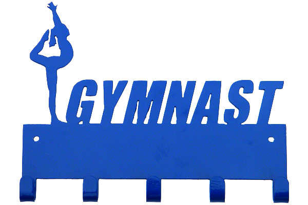 Female Gymnast Blue 5 Hook Medal Display Hanger